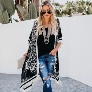 Boho sheer black and white floral design kimono